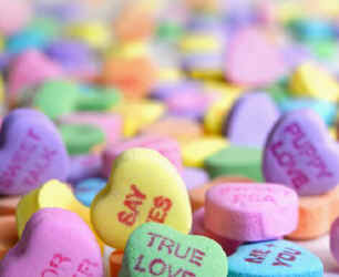 candy hearts Valentines Day presentation